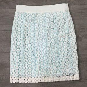 Antonio Melani Floral Crochet Skirt Arctic Blue
